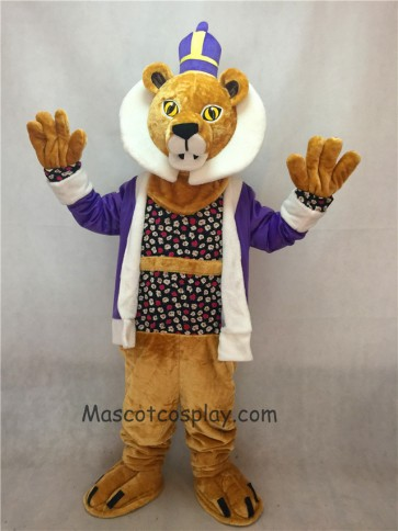 King Lionel Lion Mascot Costume with Purple Clothes and Crown