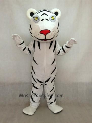 White Tiger Cub Mascot Costume with Black Stripes
