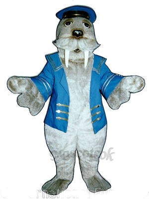 Cute Walrus with Sailor Suit Mascot Costume