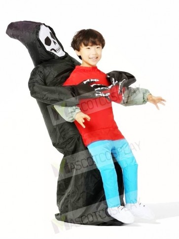 Skull Ghost Carry Me on Demon Inflatable Halloween Costumes for Kids