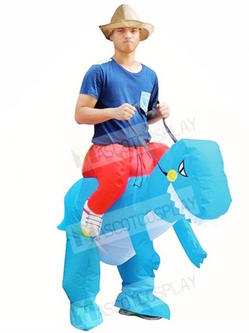 Blue Dinosaur Carry Me Ride On T-Rex Inflatable Halloween Costumes for Adults