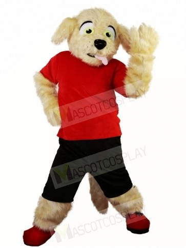 Fluffy Dog in Red Shirt and Black Pants Mascot Costumes Animal