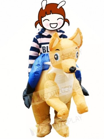 Ride On Dog Inflatable Carry Me Mascot Costumes Christmas Party Outfit for Kids