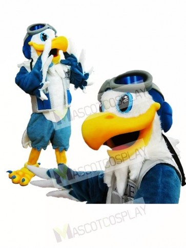 Blue and White Eagle Ace Mascot Costume Pilot Bird Hawk Mascot Costume