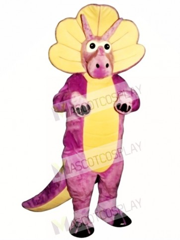 Purple Triceratops Mascot Costume