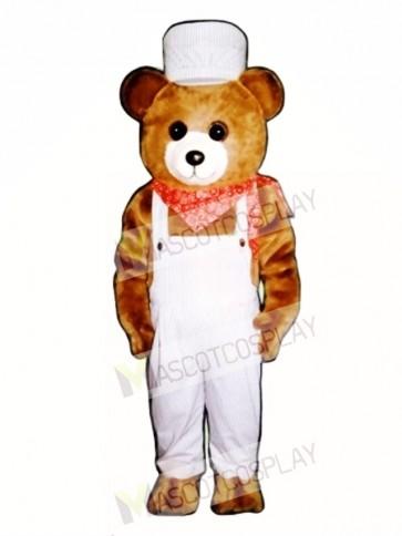 hoo-Choo Bear with Overalls & Hat Christmas Mascot Costume