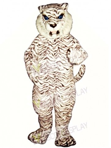 Cute Blue-Eyed White Tiger Mascot Costume