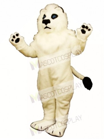 Cute White Lion Mascot Costume