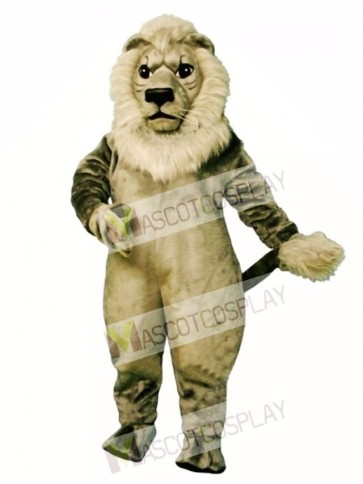 Cute Old Grey Lion Mascot Costume