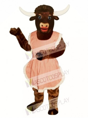 Lady Longhorn with Apron Christmas Mascot Costume