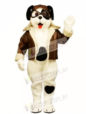 Cute Puppy Dog with Spots & Aviator Outfit Mascot Costume