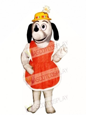 Cute Gertie Greyhound Dog with Apron & Hat Mascot Costume