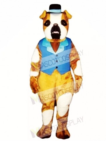 Cute Pug Dog with Hat & Vest Mascot Costume