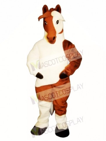 Cute Old Paint Horse Mascot Costume