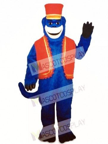 Blue Monkey with Vest & Hat Mascot Costume