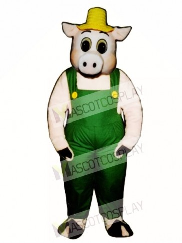 Cute Otis Oinker Pig Hog with Straw Hat & Overalls Mascot Costume