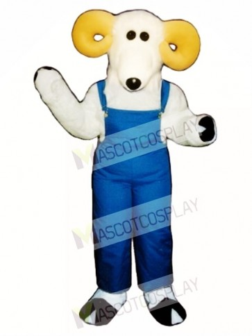 Cute Ronnie Ram with Overalls Mascot Costume