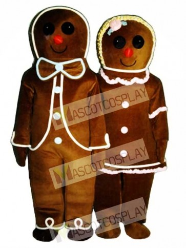 Gingerbread Boy (on left) Mascot Costume
