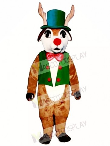 Yuletide Deer with Vest, Hat & Bowtie Mascot Costume
