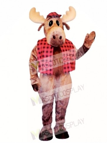 Cute Hunter Moose with Hat & Vest Mascot Costume