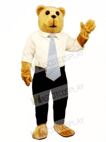 New White Collar Bruce Bear Mascot Costume