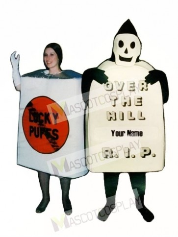Over the Hill Tombstone with Wipe Off board Mascot Costume
