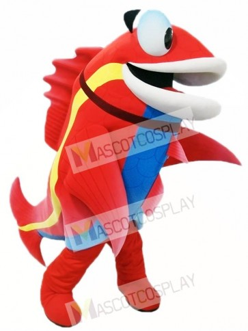 Red Fish with Blue Belly Mascot Costumes Fish