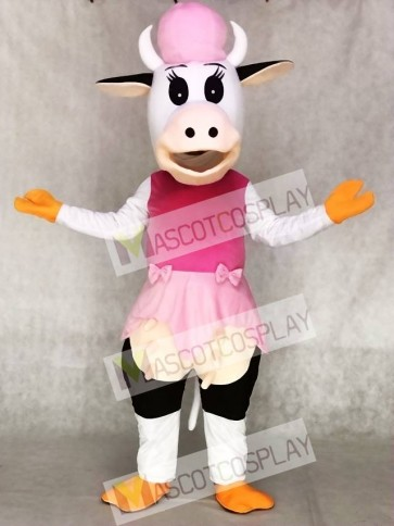 Cow in Pink Dress Mascot Costumes Animal