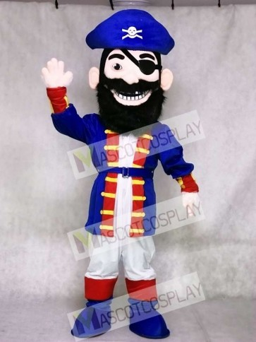 Redbeard Pirate in Blue Mascot Costume
