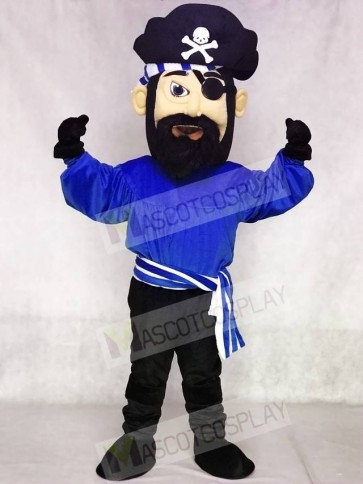 High Quality Adult Fierce Dark Blue Pirate Mascot Costume