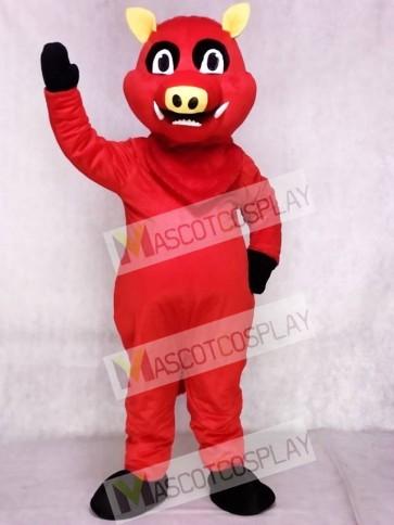 Red Razorback Feral Pig Hog Wild Boar Mascot Costume
