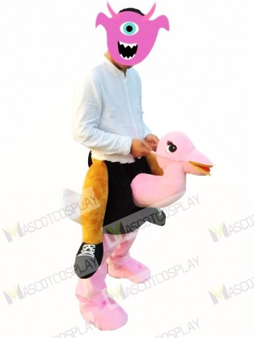 Piggyback Carry Me Ride on Pink Ostrich Mascot Costume