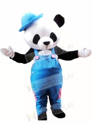 Cute Panda with Blue Overalls and Hat Mascot Costumes Animal