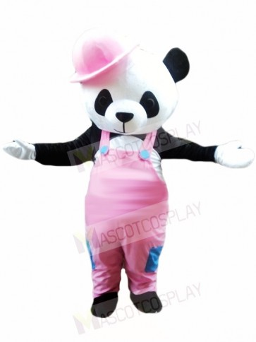 Cute Panda with Pink Overalls and Hat Mascot Costumes Animal