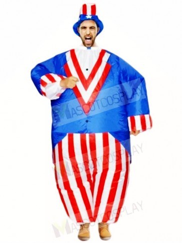 American US Flag Uncle Sam Independence Day Inflatable Halloween Blow Up Costumes for Adults