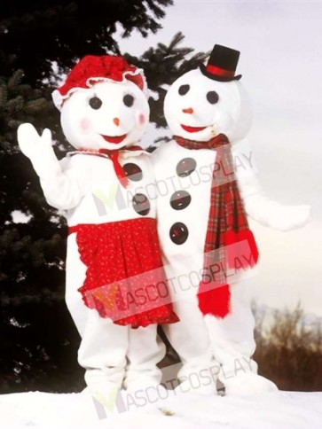 Cute Mrs. Snowman Mascot Costume