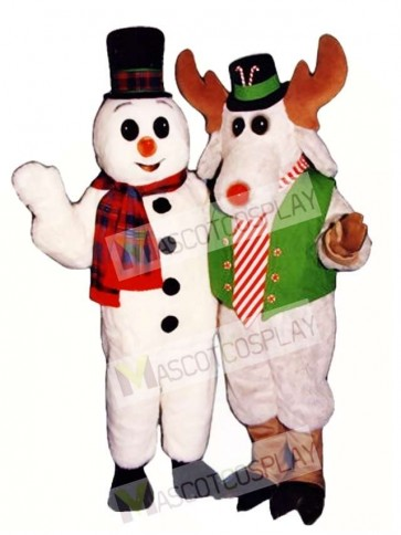 Cute Snow Buddy Snowman with Hat & Scarf Mascot Costume