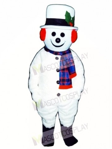 Cute Extra Round Snowman with Hat & Scarf Mascot Costume