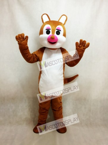 Pink Nose Squirrel Mascot Costume
