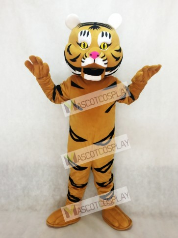 Adult Yellow Orange Tiger Ted Mascot Costume