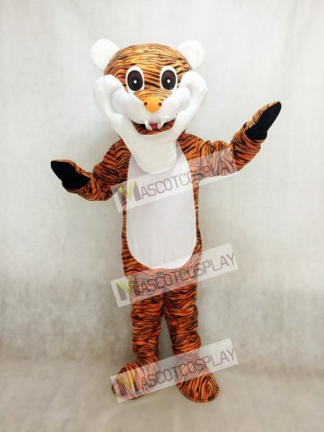 Cute Reddish Brown Stripe Tiger Adult Mascot Costume