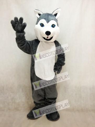 White and Grey Husky Dog Mascot Costume
