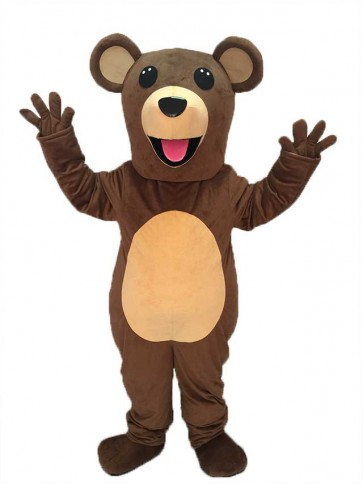 Teddy Bear Mascot Costume with Pink Tongue
