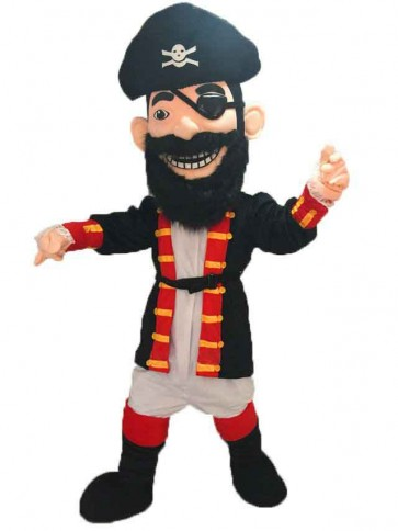 Redbeard Pirate Mascot Costume with Black Hat