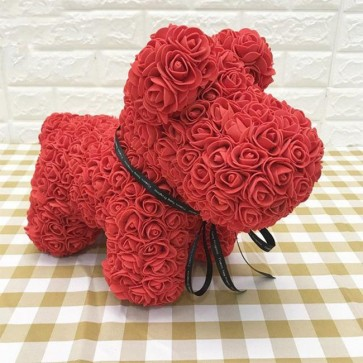Red Rose Puppy Dog Flower Puppy Dog Best Gift for Mother's Day, Valentine's Day, Anniversary, Weddings and Birthday