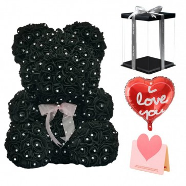 Diamond Black Rose Teddy Bear Flower Bear Best Gift for Mother's Day, Valentine's Day, Anniversary, Weddings and Birthday