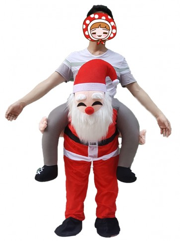 Piggyback Santa Claus Carry Me Ride Father Christmas Mascot Costume