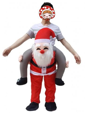 Piggyback Santa Claus Carry Me Ride Father Christmas Mascot Costume