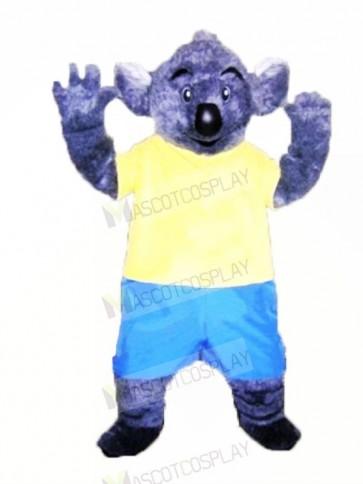 Furry Koala with Yellow T-shirt Mascot Costumes Adult