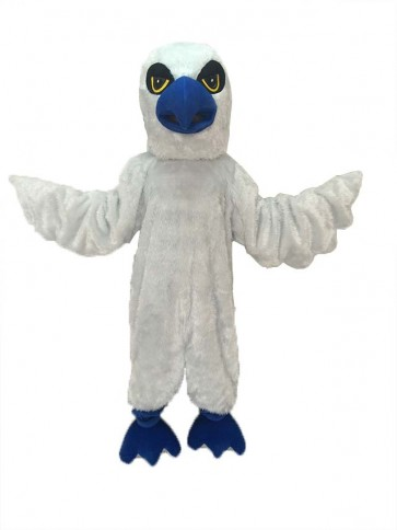 White Hawk Mascot Costume with Royal Blue Beak and Feet